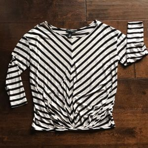 WHBM Striped Blouson Tee M (Oversized)